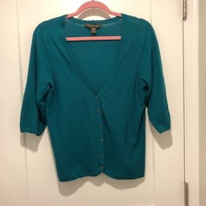 Tommy Bahama Teal Lightweight 3/4 Sleeve Cardigan